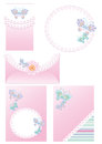 Postcards backgrounds and frames for congratulati congratulation with a newborn girl adorned with lace butterflies Royalty Free Stock Photo