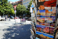 Postcards stand in rome kiosk with various with images of and religious via veneto Stock Image