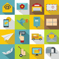 Poste service icons set, flat style