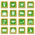 Poste service icons set green