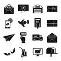 Poste service icons set, simple style