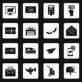 Poste service icons set squares vector