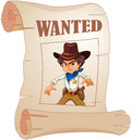 A poster of an angry cowboy illustration on white background Stock Photography