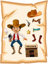 A poster with an armed old cowboy and a saloon bar illustration of on white background Royalty Free Stock Photo