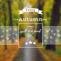Poster with autumn landscape eps jpg motto slogan for season maple leaves on a park background square emblem for Stock Photos