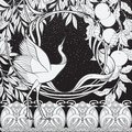 Poster, background with decorative flowers and bird in art nouveau style. Black-and-white graphics.n