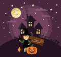 Poster, banner or background for Halloween Party night with haunted house. Witch with broom,pumpkin, moon and stars. Royalty Free Stock Photo