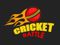 Poster or banner design for Cricket with burning ball. Royalty Free Stock Photo