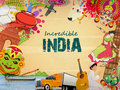 Poster or banner design of incredible india a glance indian religion culture with modern transportation on grungy background can Royalty Free Stock Image