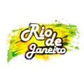 Poster, Banner with text Rio De Janeiro. Royalty Free Stock Photo