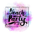 Poster beach party on a trendy tropical watercolor background, exotic palm trees. Card, label, flyer, banner design