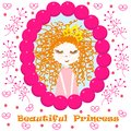 Poster with beautiful princess - vector, illustration, eps