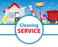 Poster clean house with tools for cleanliness and disinfection o
