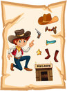 A poster with a cowboy and a saloon bar illustration of on white background Stock Image