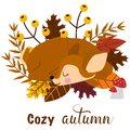 Poster cozy autumn with a deer - vector illustration, eps