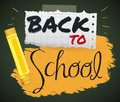 Poster with Crayon and Notebook paper for Back to School, Vector Illustration Royalty Free Stock Photo