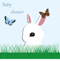 Poster cute baby Bunny on the grass and butterflies on a blue ba