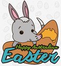 Cute Bilby over a Boomerang for Australian Easter Event, Vector Illustration Royalty Free Stock Photo