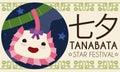 Poster with Cute Smiling Kinchaku Purse Celebrating Tanabata Festival, Vector Illustration
