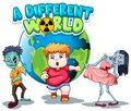 Poster design with word a different world with zombies on earth Royalty Free Stock Photo