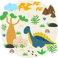 Poster with dinosaur and eggs - vector illustration, eps