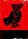 Poster with fist and money red black Stock Images