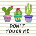 Poster with fun cacti Royalty Free Stock Photo