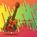 Poster guitar in sketching style and text.