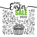 Poster Happy Easter sales, set of black icons and symbols with Basket with eggs on white background, Typography poster