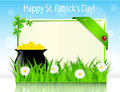 Poster holiday st patrick s day with a boiler with coins on grass Royalty Free Stock Images