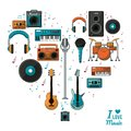 Poster i love music with colorful silhouette of musical instruments and playback devices Royalty Free Stock Photo