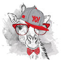 The poster with the image giraffe portrait in hip-hop hat. Vector illustration.