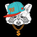 The poster with the image raccoon portrait in hip-hop hat. Vector illustration.