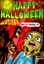 Poster invite for halloween party detailed illustration of a with zombie and screaming womanillustration in eps with color space Stock Images