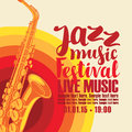 Poster for jazz festival live music with saxophone
