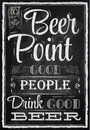 Poster lettering Beer Point. Chalk.
