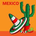Poster Mexico with the image of the Mexican flag, sombrero, spicy chili peppers, maracas and a lot of cacti