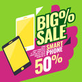 Poster most selling smartphones with a percent sign. Vector illustration in a flat style