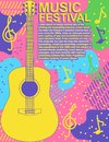 Poster music festival rock guitar colorful vector illustration Music poster modern flyer template Jazz music band card flat design