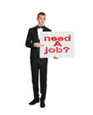 Poster with need a job businessman in tuxedo holding Royalty Free Stock Photos