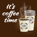 Poster with paper cup of coffee lettering its coffee time on bro