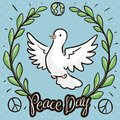 Dove inside Wreath of Olive in Doodles for Peace Day, Vector Illustration Royalty Free Stock Photo