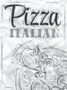 Poster pizza italian coal with and a slice of with the inscription stylized drawing with on the blackboard Stock Images