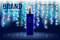 Poster for the promotion of cosmetic moisturizing product. Shiny blue night repair serum bottle on a dark background