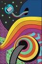 Psychedelic hallucination. Bright vector illustration