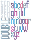 Poster retro double striped font bright condensed lowercase let letters on white background Royalty Free Stock Images