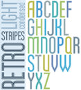 Poster retro light striped font condensed uppercase letters on white background Royalty Free Stock Photography