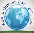Poster with Round Button like Earth Planet for Oceans Day, Vector Illustration