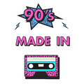 Poster 90`S MADE IN with cassette and star