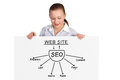 Poster with seo scheme businesswoman holding Royalty Free Stock Photos